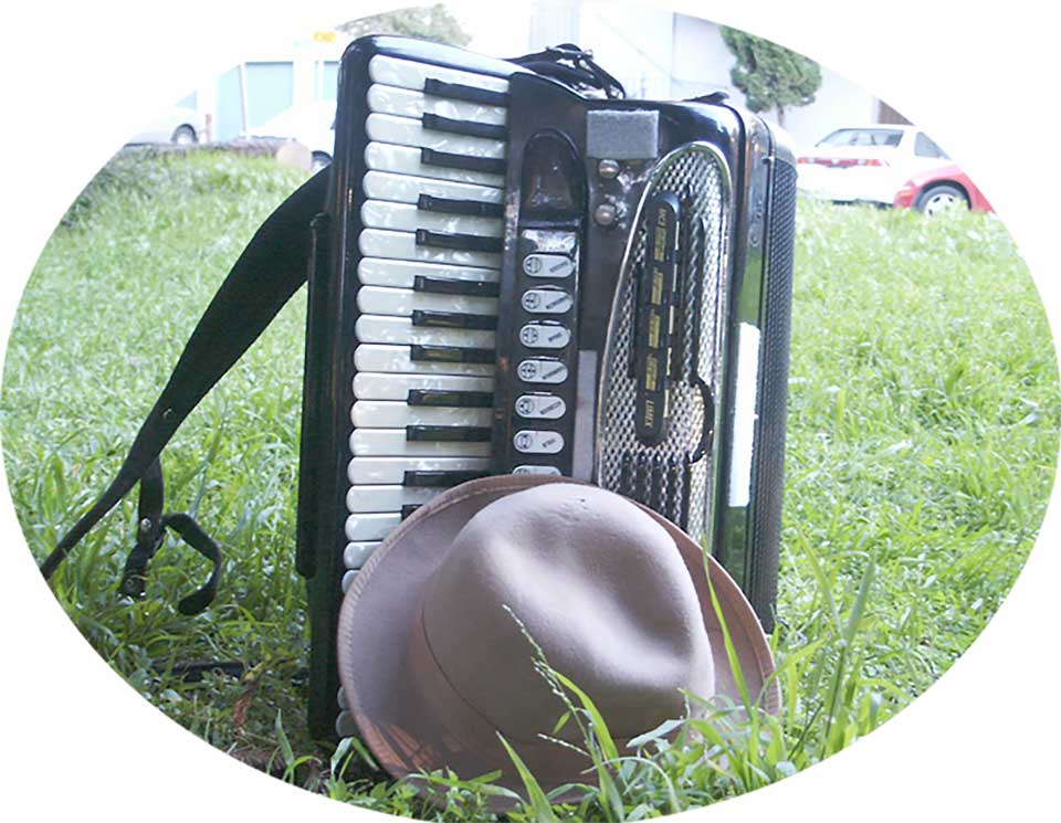 Accordion on lawn with hat